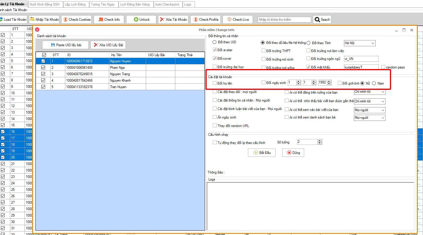 220bf4fb0aa0f6feafb1 2 Hướng dẫn sử dụng tính năng mới của phần mềm nuôi nick Ninja Care version 17.4